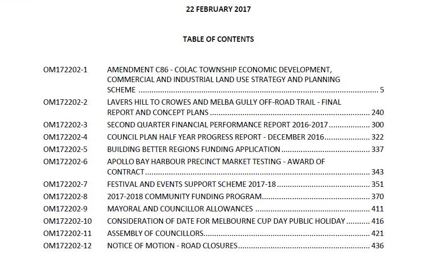 1702 cos agenda index